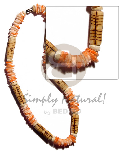 White rose orange splashing Wood Necklace