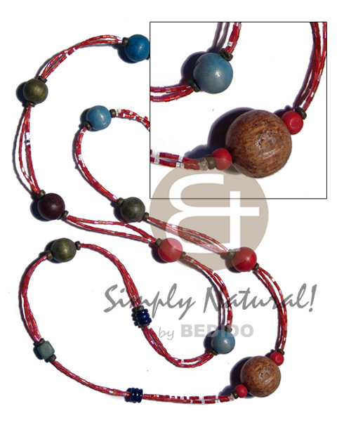2 rows red cut glass Wood Necklace