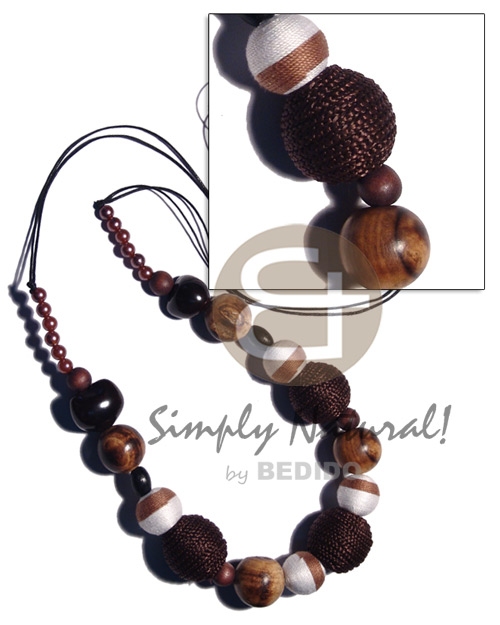 48 in. wax cord Wood Necklace