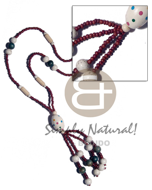 hand made 2-3mm maroon coco pokalet. Wood Necklace