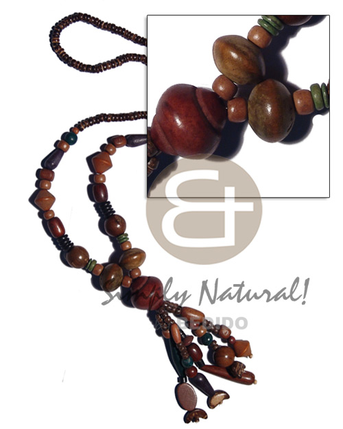 hand made 4-5mm coco natural brown pokalet Wood Necklace