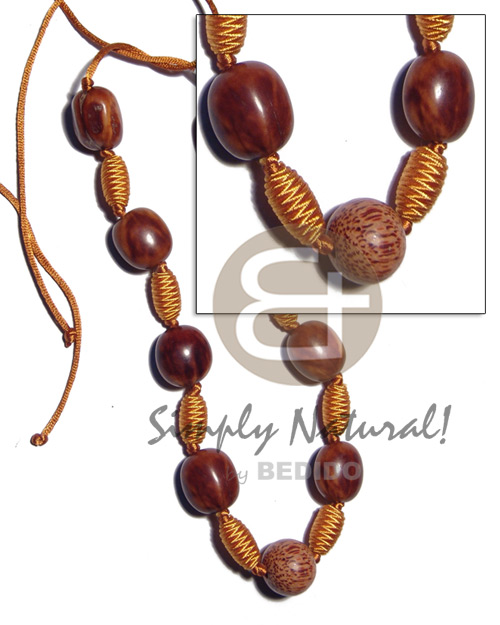 Capsule wrapped wood beads Wood Necklace