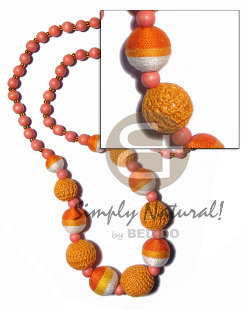 hand made Graduated wrapped wood beads and Wood Necklace