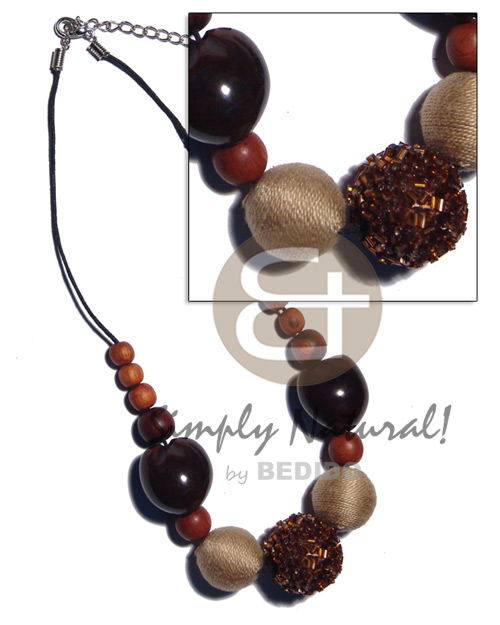 hand made 20mm 25mm round wrapped wood beads Wood Necklace