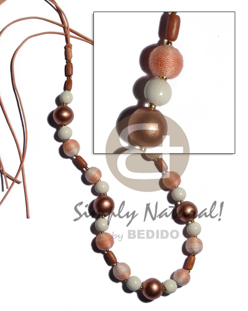 12mm wrapped wood beads Wood Necklace