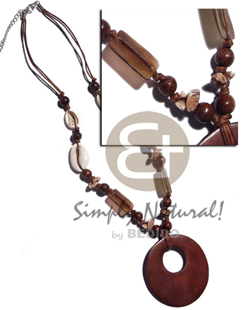 Sigay wood beads 15mmx20mm rectangular black Wood Necklace
