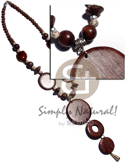 Round woods beads brown Wood Necklace