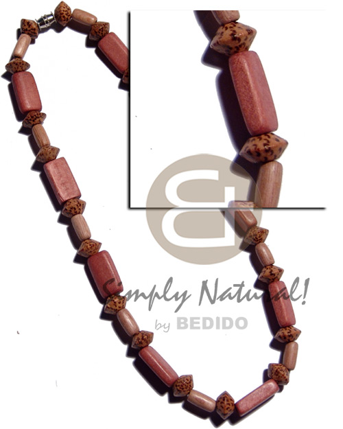 Rectangular flat natural wood in Wood Necklace