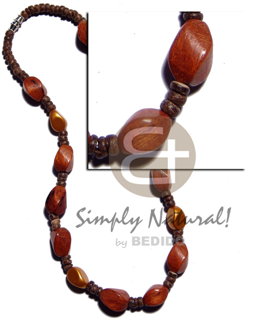 4-5mm coco pokalet natural Wood Necklace