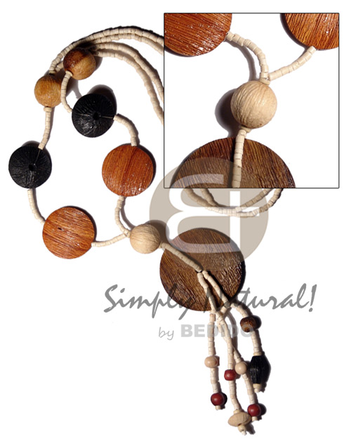 2-3mm bleach white coco heishe Wood Necklace