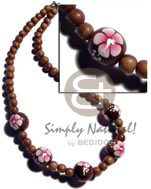 hand made 8mm round robles wood beads Wood Necklace