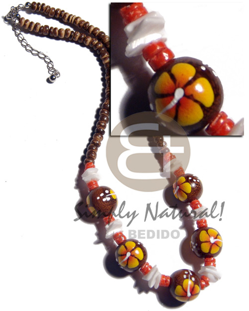 4-5mm coco pokalet. natural brown Wood Necklace