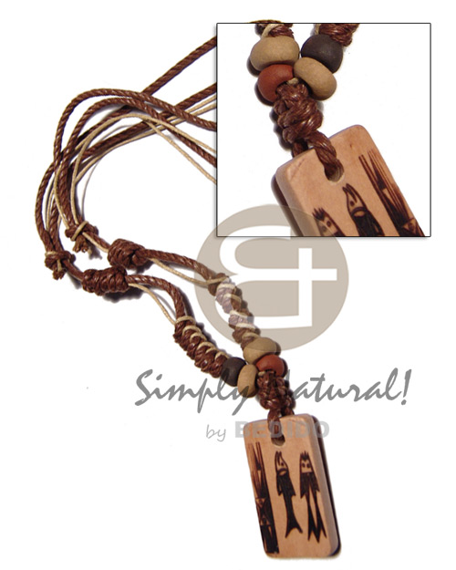 hand made 4 layers wax cord in Wood Necklace