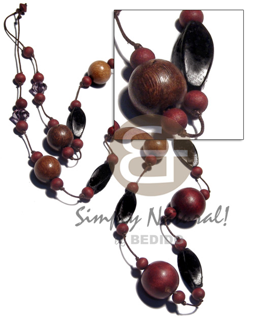 25mm 10 mm round Wood Necklace