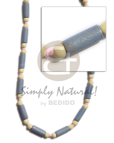 Pastel blue wood tube Wood Necklace