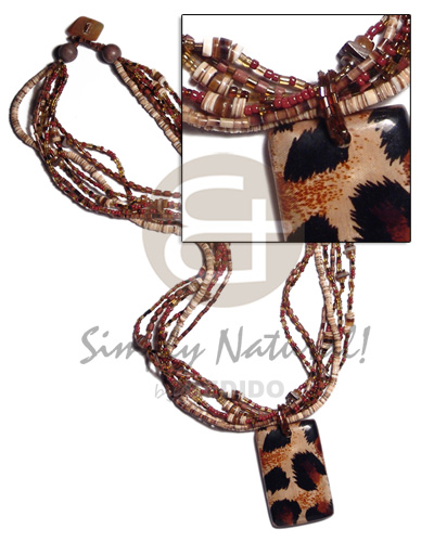 7 layers 2-3mm coco heishe melo Wood Necklace