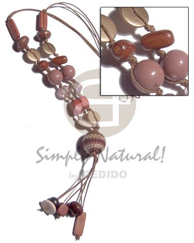 asstd wood beads in 2 rows wax cord  20mm wrapped wood bead and 2.5 in. tassles - Wood Necklace