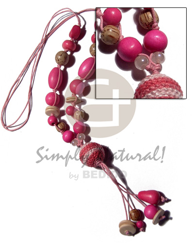 2 layers knotted wax cord Wood Necklace