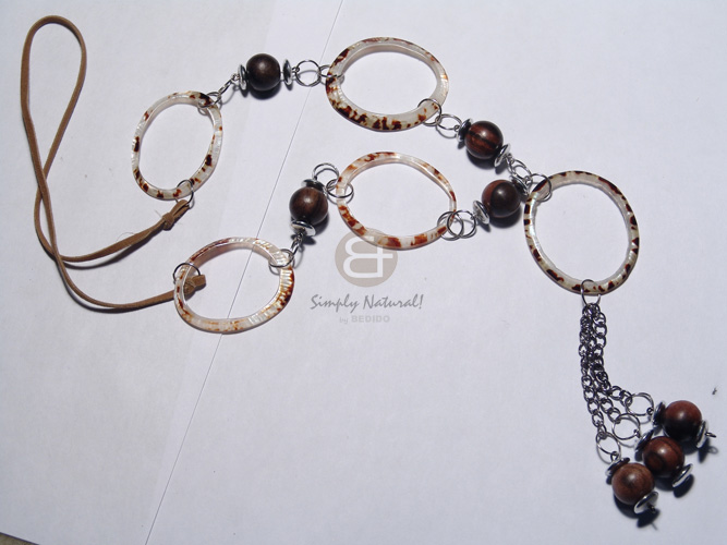2 rows wax cord  asstd. wood beads , 20mm wood rings, acrylic crystals, in metal links / brown, bronze and maroon tones / 30in - Wood Necklace