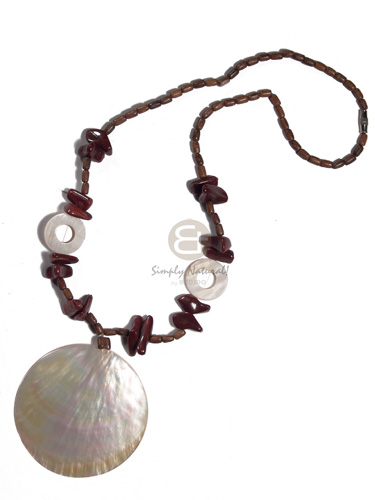 hand made 65mm round mop wood Wood Necklace