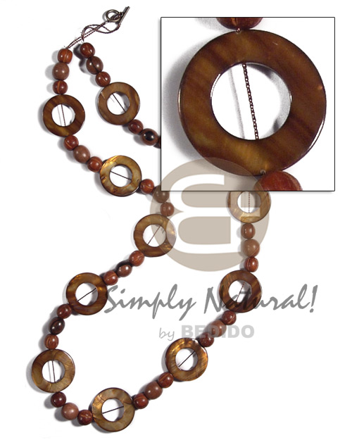 30mm round laminated golden amber kabibe shell rings ( 11 pcs. ) in high gloss  wood beads accent / 32in - Wood Necklace
