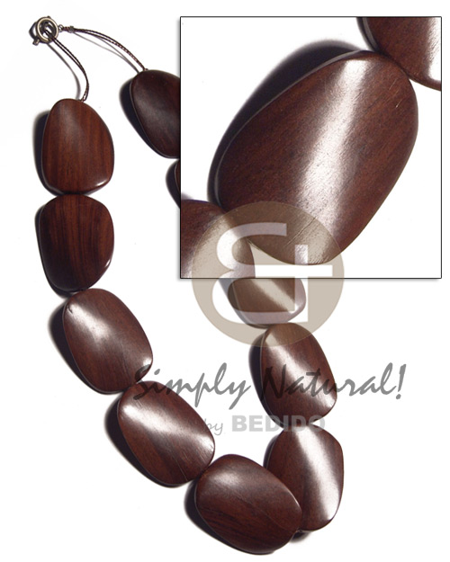 magkuno iron wood twisted 30mmx40x8mm   antique t-locks / 10 pcs. / 20in. - Wood Necklace