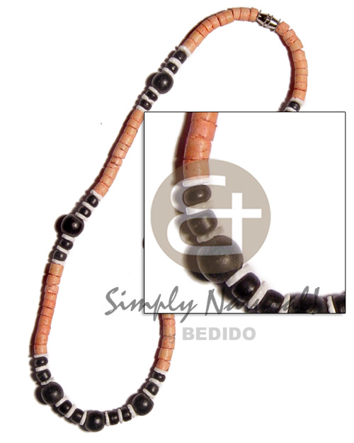 4-5mm coco heishe melon Wood Necklace