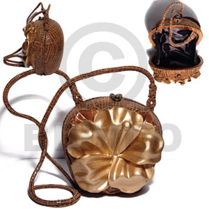 collectible handcarved laminated acacia  wood slingbag / pig skin wrap  gold lotus carved flower combination /  5 3/4inx6inx4 1/4in / handle length:42 in. /  black satin inner lining - Wooden Acacia Bags
