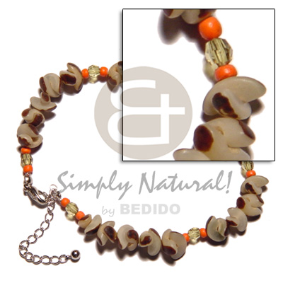 Buri manol seed orange Wooden Anklets