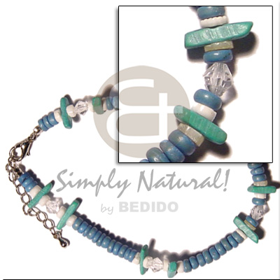 Blue 4-5mm coco pokalet Wooden Anklets