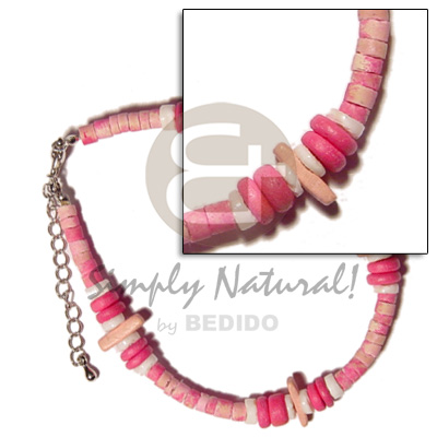 2 toned 4-5mm pink coco Wooden Anklets