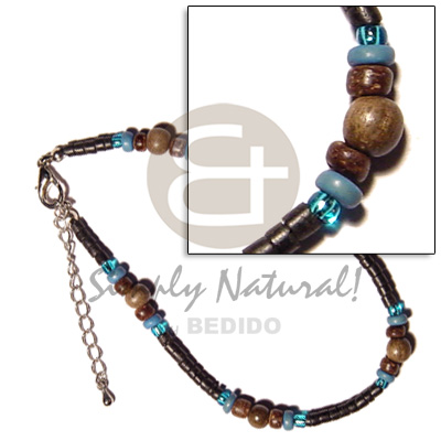 2-3mm black coco heishe Wooden Anklets