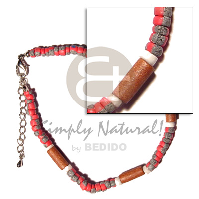 Red 4-5mm coco pokalet. splashing Wooden Anklets