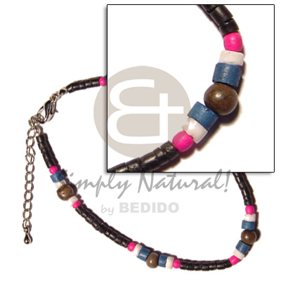 hand made 2-3mm coco pokalet. black Wooden Anklets