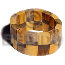 Elastic patched 3 kinds of Wooden Bangles
