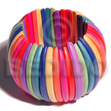 Elastic multicolored natural white wood Wooden Bangles