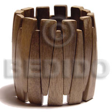 greywood wood elastic bangle  clear coat finish  / ht=55mm - Wooden Bangles