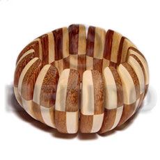 Elastic patched half moon wood Wooden Bangles