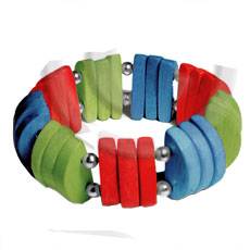 Natural white wood red blue green combination Wooden Bangles