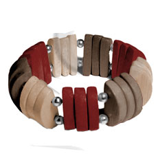 Natural white wood brown beige maroon combination Wooden Bangles