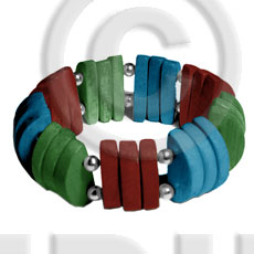 hand made Natural white wood maroon blue green combination Wooden Bangles