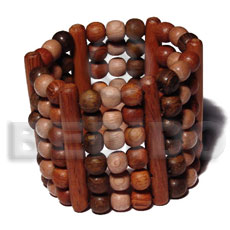 Elastic 6 rows 8mm wood Wooden Bangles