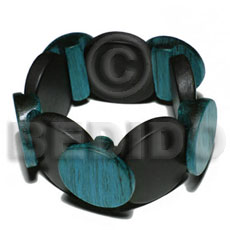 elastic overlapping round wood  bangle   clear coat finish/ 37mm  nat. wood in black & 30mm round palmwood blue green combination - Wooden Bangles
