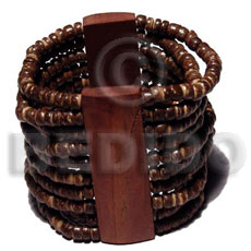 elastic 10 rows 4-5mm coco Pokalet. nat. brown  wood bars - Wooden Bangles