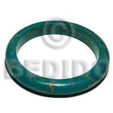 nat. wood bangle in aquamarine & orange crackle painting ht=12mm thickness=10mm inner diameter=65mm - Wooden Bangles