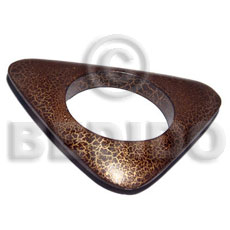 nat. wood bangle in brown & metallic gold crackle painting ht=13mmmm thickness=45mm inner diameter=65mm outer diameter=140mm - Wooden Bangles