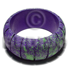 h=37mm thickness=10mm inner diameter=65mm nat. wood bangle  groove in marbled blue violet texture brush paint  neon green splashing - Wooden Bangles