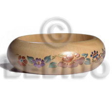 natural white wood  clear protective topcoat /  embossed metallic handpainting   / ht= 25mm / outer diameter =  65mm inner diameter  /  10mm thickness hand painted using japanese materials in the form of maki-e art a traditional japanese form of hand painting objects - Wooden Bangles