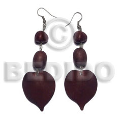 Dangling natural white wood heart Wooden Earrings