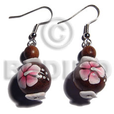 Dangling 15mm robles round wood Wooden Earrings